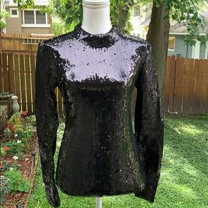 FREE PEOPLE - Flashy Long Sleeve Black Sequin Top
